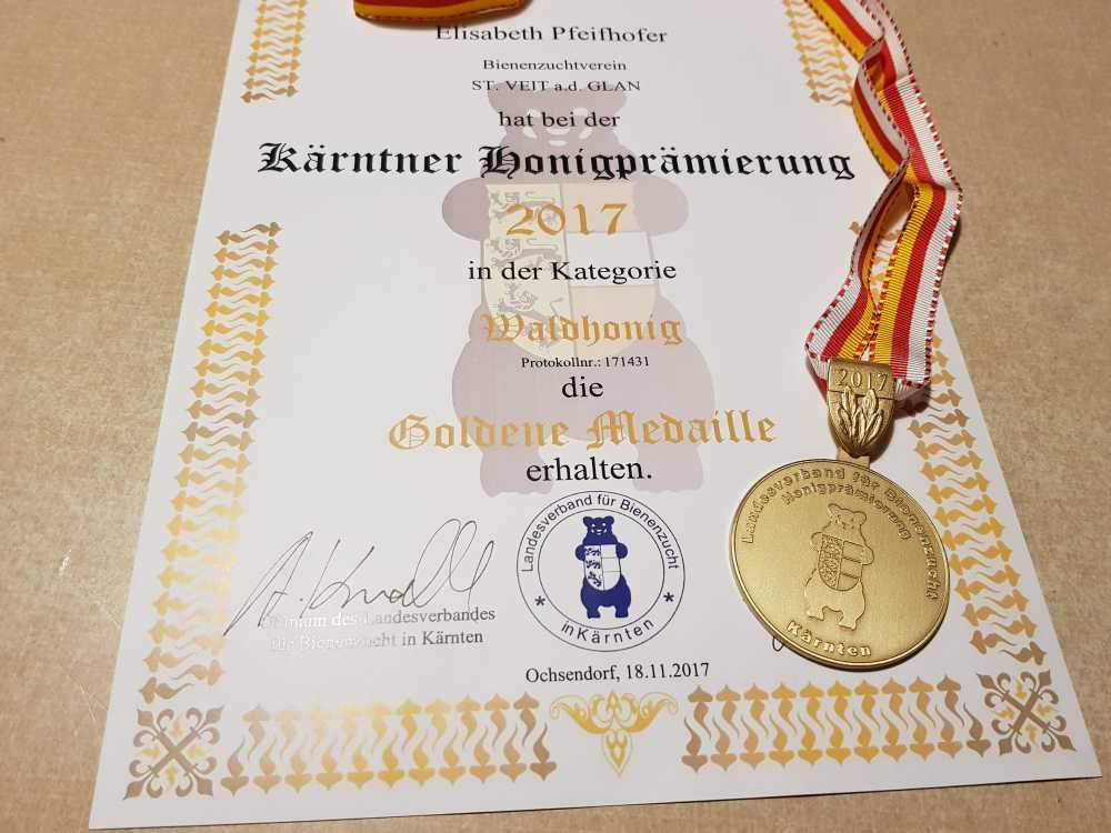 Kärntner Honigprämierung, Auszeichnung goldene Medaille